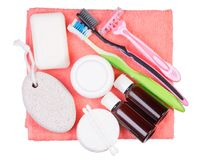 Fije para la toalla de los cepillos de dientes de la maquinilla de afeitar de la loción de la crema del jabón de baño imagenes de archivo