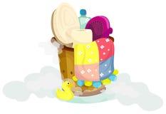 Fije para un baño en compartimiento de madera Foto de archivo libre de regalías