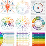 Fije 9 procesos cíclicos de Infographics de las plantillas ocho posiciones Fotografía de archivo libre de regalías