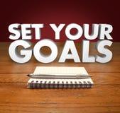 Fije su pluma de la libreta de las palabras de las metas 3d Fotos de archivo libres de regalías