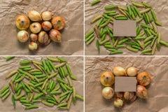 Fije un papel en blanco, cebollas y guisantes verdes Fotos de archivo libres de regalías