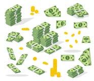 Fije una diversa clase de dinero Proceso de las actividades bancarias Embalando en paquetes de billetes de banco, las cuentas vue Imágenes de archivo libres de regalías