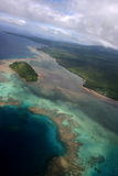 Fiji Aerial One. Taveuni - Mattei Point. Coastal View from sea plane stock photography