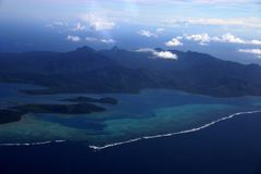 Fiji Aerial Two. Fiji Aerial Ovalau. View from sea plane stock photography