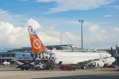 Fiji Airways Aircraft. Fiji Airways airplane Boeining 737 - 800 royalty free stock photography