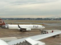 Fiji Airways. Plane at Sydney airport stock image