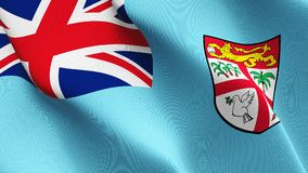 Fiji flag waving on wind. Fiji background fullscreen flag blowing on wind. Realistic fabric texture on windy day Stock Photography