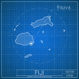 Fiji blueprint map template with capital city. Suva marked on blueprint Fijian map. Vector illustration Royalty Free Stock Photography