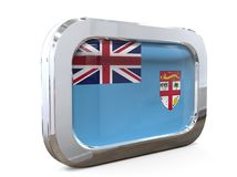 Fiji  Button Flag 3D illustration. 3D Illustration  Fiji  Flag button metallic look Stock Image