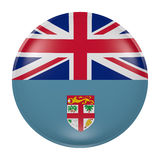 Fiji button on white background. 3d rendering of a Fiji flag on a button Stock Image