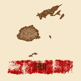 Fiji distressed map. Royalty Free Stock Photo