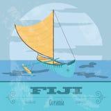 Fiji. Fijian canoeing. Retro styled image. Vector illustration Stock Images