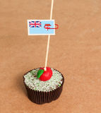 Fiji flag on a apple cupcake Royalty Free Stock Images