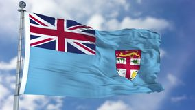 Fiji Flag in a Blue Sky. Use this clip loud and proud to express loyalty and love to our country. It is a seamless loop with luma channel Stock Photos