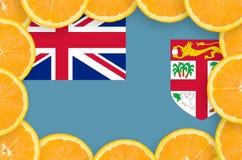 Fiji flag in fresh citrus fruit slices frame stock photos