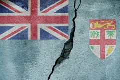 Fiji   FLAG PAINTED ON CRACKED WALL nice Royalty Free Stock Images