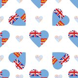 Fiji flag patriotic seamless pattern. National flag in the shape of heart. Vector illustration Stock Images