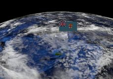 Fiji flag on pole on earth globe illustration. Elements of this image furnished by NASA Stock Image