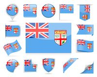 Fiji Flag Vector Set. Fiji Flag Set - Vector Illustration Royalty Free Stock Photo