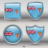 Fiji Flag in 4 shapes collection with clipping path stock photos