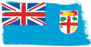 Fiji Flag Vector Hand Painted with Rounded Brush Royalty Free Stock Photos