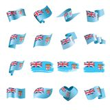 Fiji flag, vector illustration. On a white background Royalty Free Stock Photos