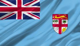 Fiji flag waving with the wind, 3D illustration. 3D rendering Royalty Free Stock Images