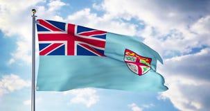 Fiji flag waving in the wind shows fijian symbol of patriotism - 4k 3d render. Fijian flag waving in the wind shows fiji symbol of patriotism. Flagpole with stock footage