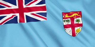 Fiji flag waving with the wind. Fiji flag waving with the wind, wide format, 3D illustration. 3D rendering Royalty Free Stock Photo