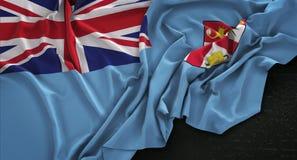 Fiji Flag Wrinkled On Dark Background 3D Render Stock Images