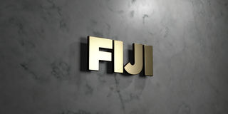 Fiji - Gold sign mounted on glossy marble wall  - 3D rendered royalty free stock illustration Royalty Free Stock Photo