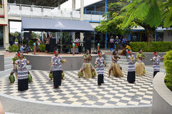 Fiji. A group of Fijian dancers, preforming a traditional Dance for cruise ship passengers, on the island of Port Denarau in the South Pacific. December 2014 Royalty Free Stock Image