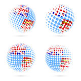 Fiji halftone flag set patriotic vector design. 3D halftone sphere in Fiji national flag colors isolated on white background Royalty Free Stock Photos