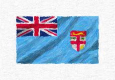 Fiji hand painted waving national flag, oil paint isolated on wh. Ite canvas, 3D illustration Stock Photo