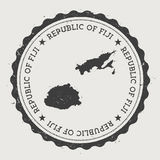 Fiji hipster round rubber stamp with country map. Vintage passport stamp with circular text and stars, vector illustration Royalty Free Stock Photography