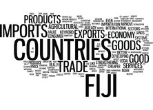 Fiji Imports Text Background Word Cloud Concept Stock Photo