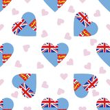 Fiji independence day seamless pattern. Patriotic background with country national flag in the shape of heart. Vector illustration Stock Photo