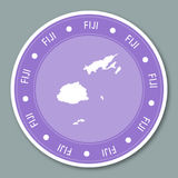 Fiji label flat sticker design. Patriotic country map round lable. Country sticker vector illustration Stock Image