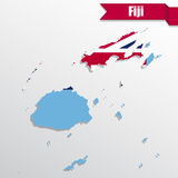 Fiji map with flag inside and ribbon. Fiji  map with flag inside and ribbon Royalty Free Stock Photos