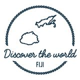 Fiji Map Outline. Vintage Discover the World. Fiji Map Outline. Vintage Discover the World Rubber Stamp with Fiji Map. Hipster Style Nautical Rubber Stamp, with Stock Images