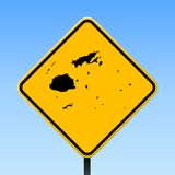 Fiji map on road sign. Square poster with Fiji country map on yellow rhomb road sign. Vector illustration vector illustration