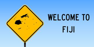 Fiji map on road sign. Wide poster with Fiji country map on yellow rhomb road sign. Vector illustration Royalty Free Stock Image