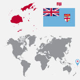 Fiji map on a world map with flag and map pointer. Vector illustration Royalty Free Stock Photography