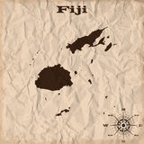 Fiji old map with grunge and crumpled paper. Vector illustration Stock Photos
