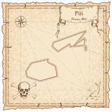 Fiji old pirate map. Royalty Free Stock Photo