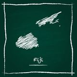 Fiji outline vector map hand drawn with chalk on. Fiji outline vector map hand drawn with chalk on a green blackboard. Chalkboard scribble in childish style Royalty Free Stock Images