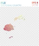 Fiji polygonal map, mosaic style country. Fine low poly style, modern design. Fiji polygonal map for infographics or presentation Stock Image