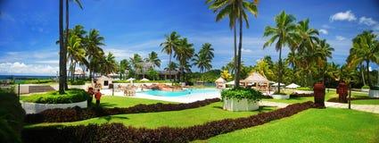 Fiji Resort. A panoramic view of a Fijian Resort Royalty Free Stock Images