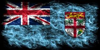 Fiji smoke flag on a black background.  Royalty Free Stock Photos