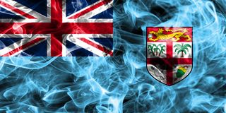 Fiji smoke flag isolated on a black background Stock Photos